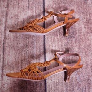 Stuart Weitzman Shoes - Stuart Weitzman Cage Kitten Heey Sandals Size 5.5